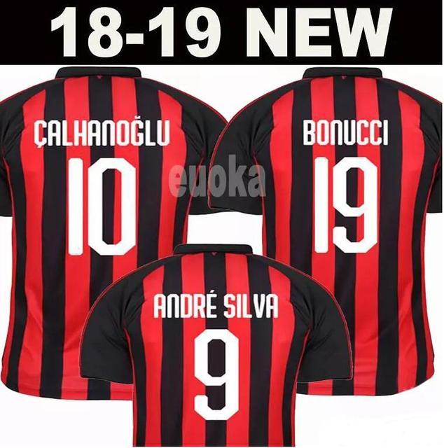 AC Milan Soccer Jerseys Football Shirt BONUCCI KESSIE ANDRE SILVA CONTI  Camisa 2018 2019 CALHANOGLU KALINIC Cutrone Maillot 75ad3682fd87f