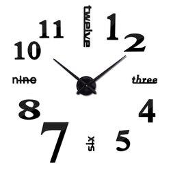 Большие настенные часы 3d в виде зеркальных акриловых наклеек на стены