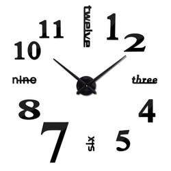 Di nuovo modo di diy acrilico specchio orologio da parete europa 3d grande orologio al quarzo still life orologi living room della decorazione della casa adesivi