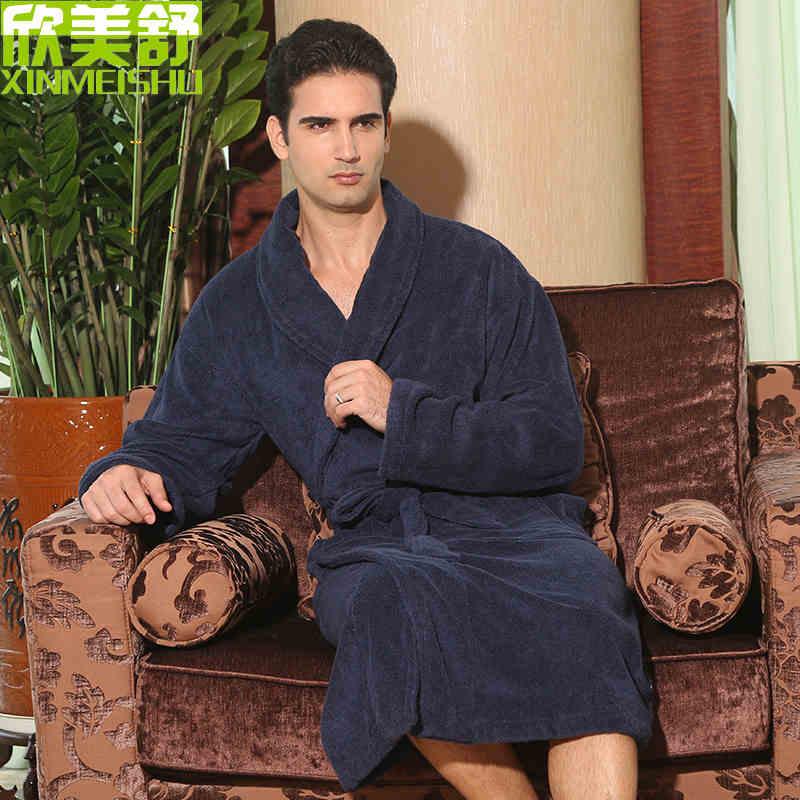 Free shipping big size men 100% cotton robe thickening bathrobe winter sleepwear