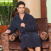 Increase Plus Fertilizer Size Men 100 Cotton Robe Thickening Bathrobe Winter Sleepwear