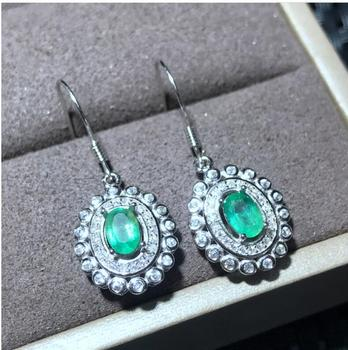 Emerald earring Free shipping Natural real emerald 925 sterling silver