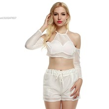 Summer style 2 Pieces Clothes Set Women halter long Sleeve Crop Tops and shorts Casual Outfits white 63