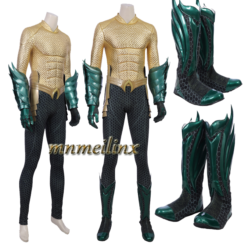 Hot Movie Aquaman Cosplay Arthur Curry Costume Superhero Aquaman Jumpsuit Gloves With Boots Halloween Clothes Customize