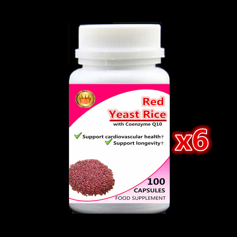 6 bottle 600pcs Red Yeast Rice Extract with Coenzyme Q10 Capsules Support cardiovascular health and longevity Free shipping now foods candida support 90 veg capsules free shipping