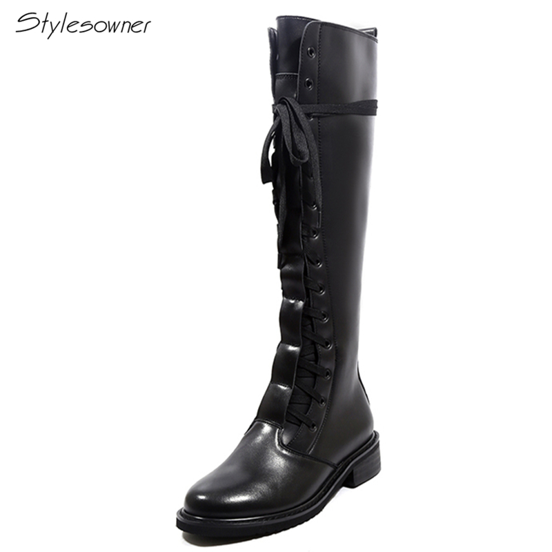 Stylesowner Women Genuine Leather Black Long Boots Cross Tied Over The Knee Boots Motorcycle Laces Botas Mujer Fashion GirlsShoe купить в Москве 2019