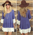 Spring/Summer Lace Maternity Dresses Fold Loose O-neck Pregnancy Clothing Clothes For Pregnant Women