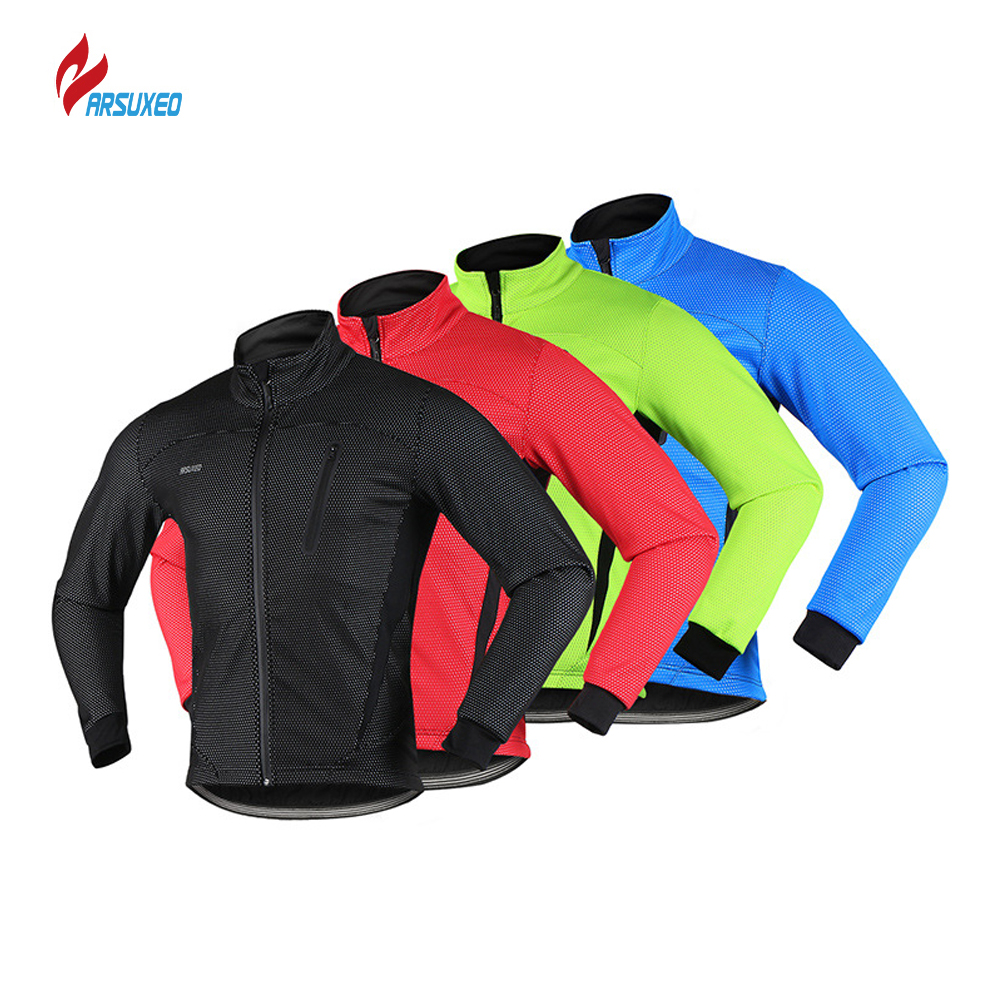 цена ARSUXEO 2018 Thermal Cycling Jacket Winter Warm Up Fleece Bicycle Clothing Windproof Waterproof Sports Coat Man Sport Jacket онлайн в 2017 году