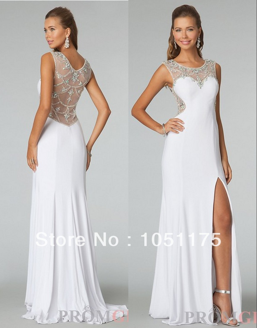 Classy 2014 Line White Party Prom Dresses Ruched Chiffon