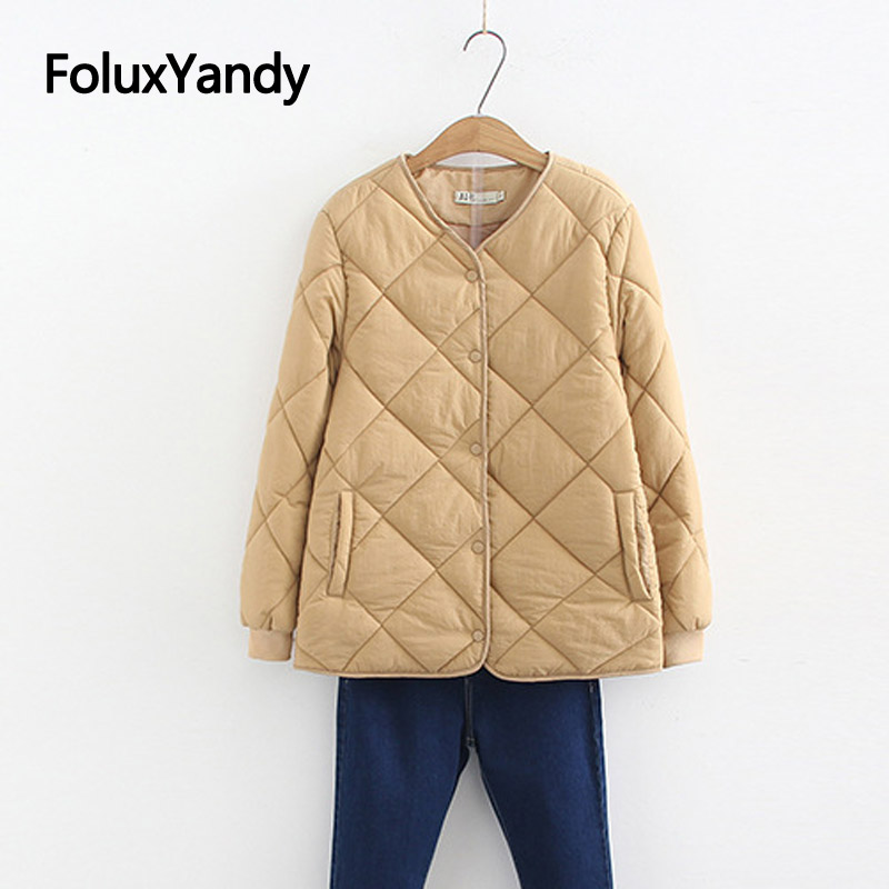 Thin Parka Coat For Women Casual V-neck Loose Single Breasted Long Sleeve Plus Size Parkas Outerwear 3 Colors SWM1294