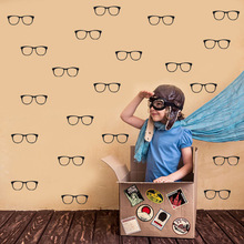 30pcs 11*3.8 Glasses Shape Vinyl Wall Stickers Removable Waterproof Art Decals Home Decor For Bedroom Decoration