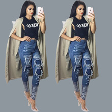 Europe and the United States hot style beggar hole blue classic fashion jeans bigger sizes stretch feet pants