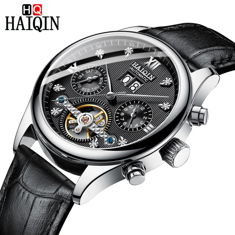 HAIQIN Men's watches Automatic mechanical Men Watches Business Watch men top brand luxury Military Waterproof Tourbillon Clock 8