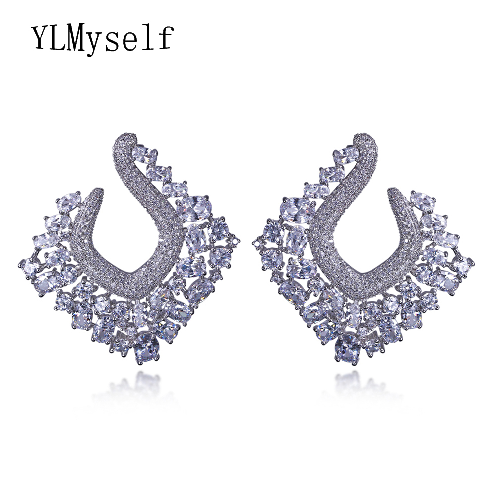 07984a6378c615 Absolutely Gorgeous Earrings! brincos grandes fashion para mulheres atacado  Zirconia Large Unusual Square big earring jewelry ~ Hot Sale July 2019