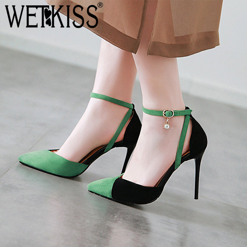 WETKISS Sandals Women Footwear Crystal-Shoes Ankle-Strap Pointed-Toe High-Heels Plus-Size