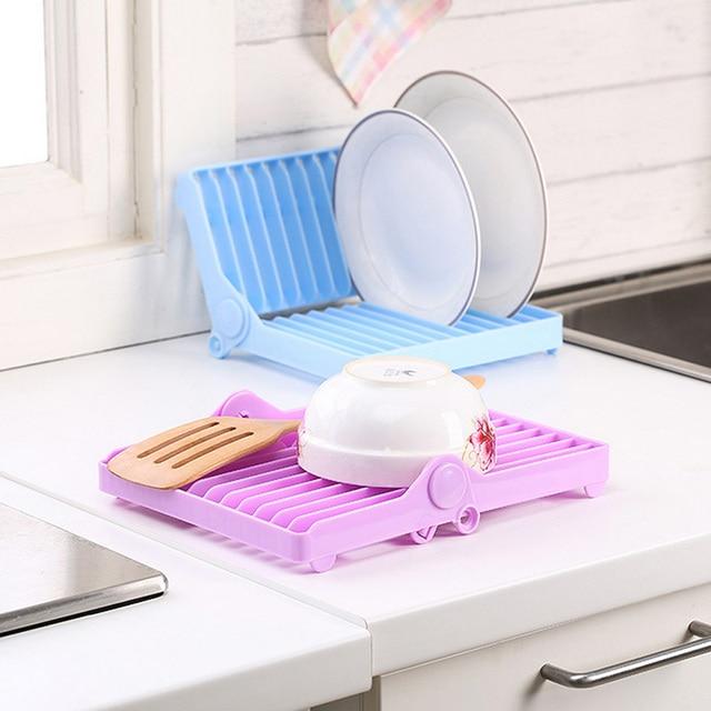 Foldable Plate Dish Drying Organizer Rack Drainer Plastic Storage Holder Kitchen & Foldable Plate Dish Drying Organizer Rack Drainer Plastic Storage ...