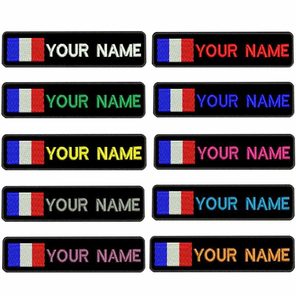Custom FRANCE flag name patches personalized iron on hook backing
