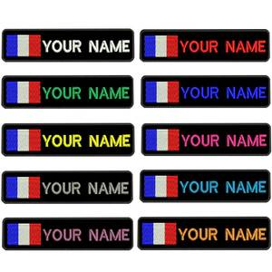 Custom FRANCE flag name patches personalized iron on hook backing(China)