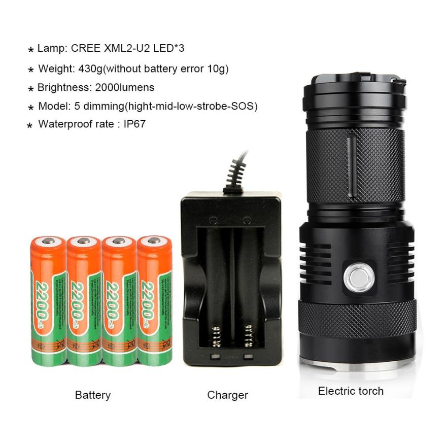 The Original 2000 Lumen Ultra Bright LED 3 Mode Flashlight Light Lamp with 18650 rechargeable Li-ion battery for Outdoor 0328P4 2017 liitokala new original 18650 3400mah battery rechargeable li ion ncr18650b 3 7v 3400 battery