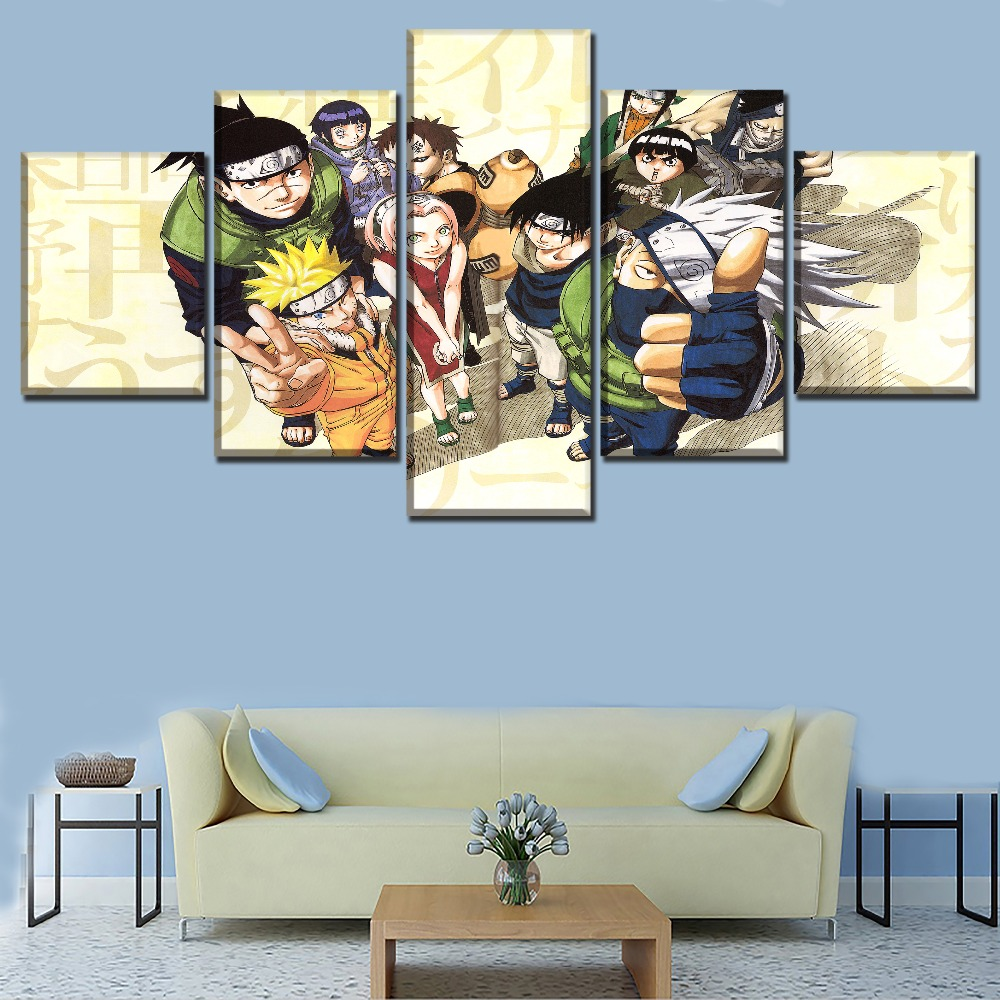 5 Panels Anime Naruto Role Poster Home Decorative Wall Art Modular Picture Canvas Print Painting One Set Framework Or Unfremed in Painting Calligraphy from Home Garden