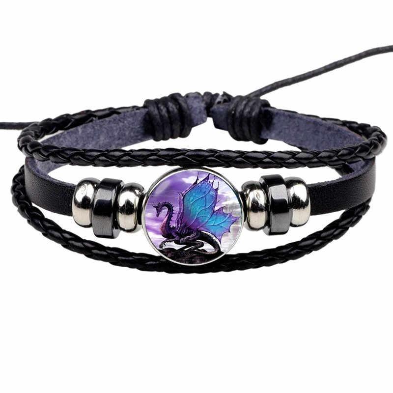 Evil Dragon Photo Leather Snap Bracelet Gothic Jewelry Black Multilayer Charm Bracelets for Women Men