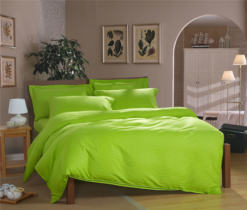 100 Cotton Le Green Bright Color Bedding Set Twin Single Bed Double Queen Size Light Duvet Cover Satin Stripe Linen In Sets From Home
