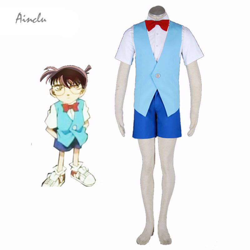 Ainclu Customize for adults Hot detective costumes Detective Conan-Conan 2th Cotton Polyester Cosplay Costume For Kids and Adult