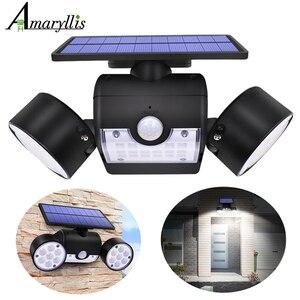 Image 1 - Lampe solaire imperméable à Double tête, avec 30 led, éclairage dextérieur, applique murale, Angle réglable, lumière de sécurité, 500lm, modèle le plus récent