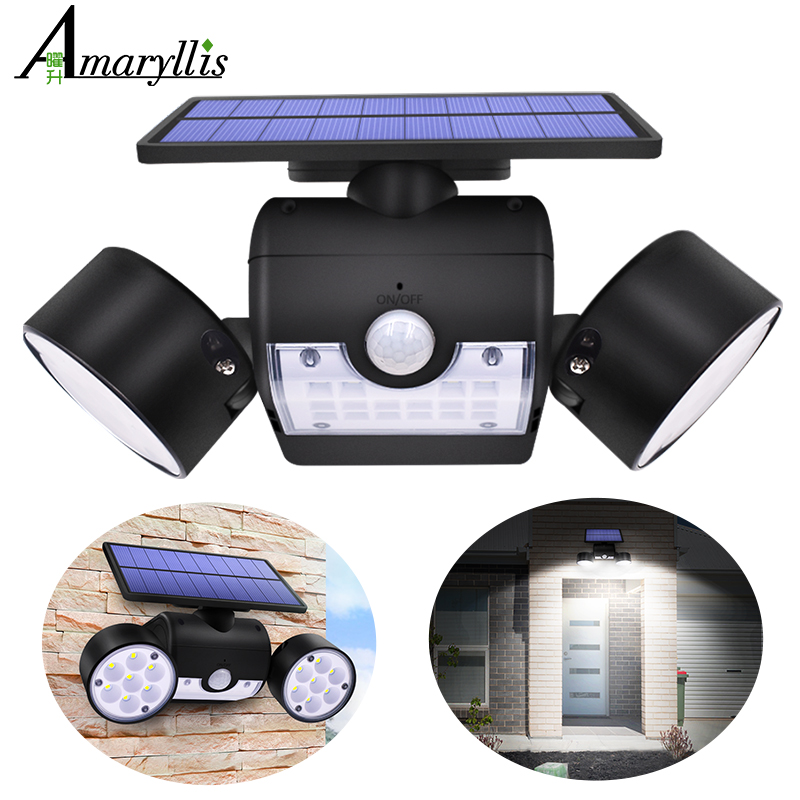 Newest Double Head Solar Lamp Outdoor Waterproof Garden Wall Solar Light With 30 Leds Adjustable Angle Security Lighting 500lm