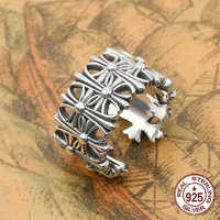 S925 sterling silver men's ring personality fashion jewelry simple hollow cross shape couple style 2018 new gift to send lover