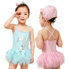 2pcs/set Children Swimsuit Girl One-piece Swan Dress + Swimming Cap