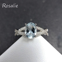 Rosalie,Classic cross design Ring with natural brazil Aquamarine oval cut6*8mm gemstone Ring in 925 sterling silver for women