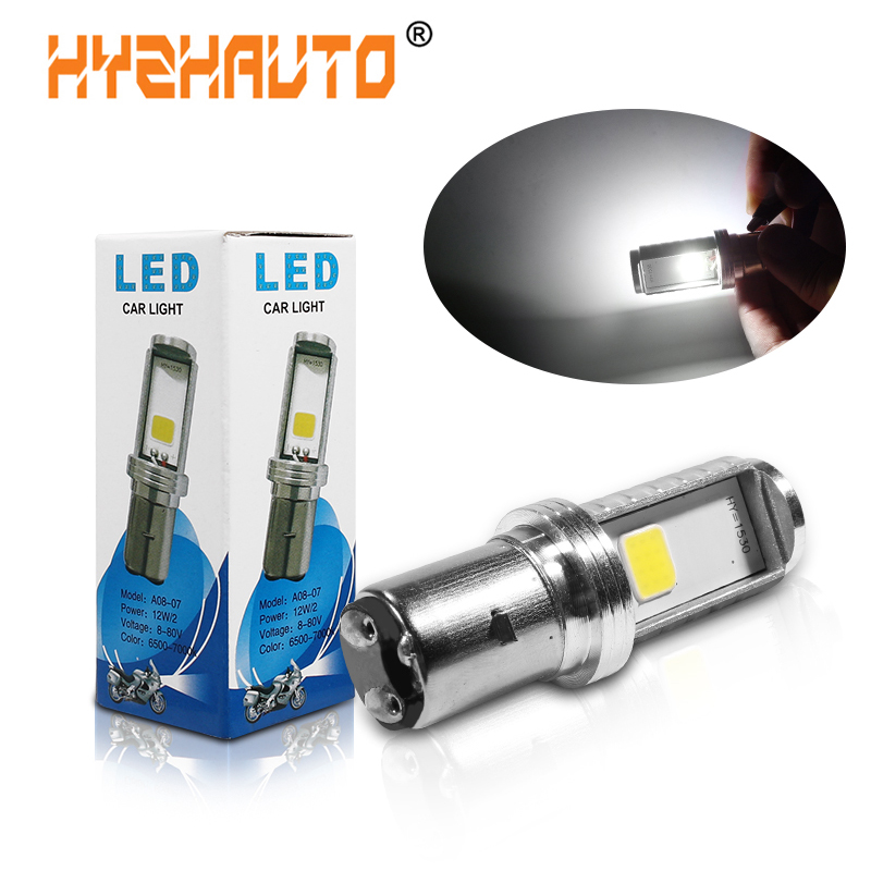HYZHAUTO 1Pcs H6 BA20D LED Motorcycle Headlight High Power COB Bulb For LED Motor Bike Scooter Headlamp Hi/Lo Beam 12W 1000LM