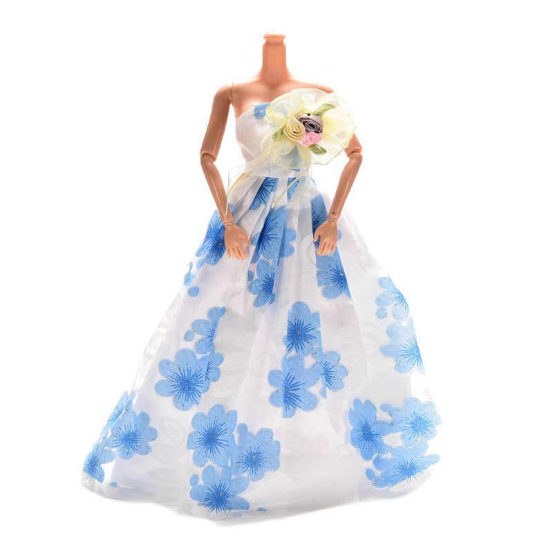 1 шт., розовое, голубое красивое длинное платье для Барби с вуалью, фиолетовое свадебное платье, кукольные аксессуары, лучшие подарки для детей, 22,5 см