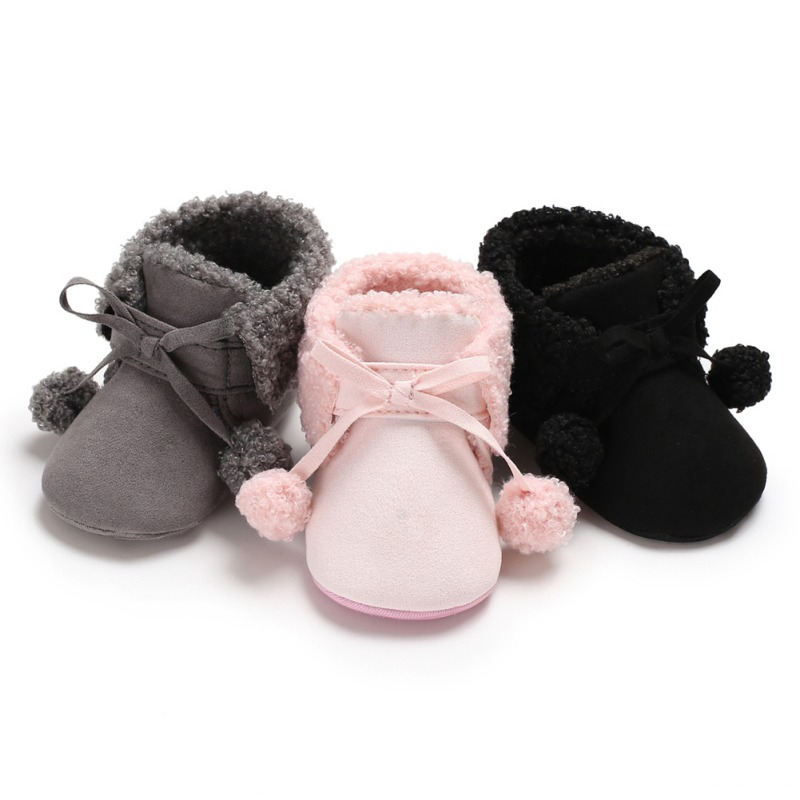 Winter Baby Booties Cute Infant Soft Plush Anti Slip Snow Boots For Girls Warm Ball Baby Girl Boy Soft Sole Boots