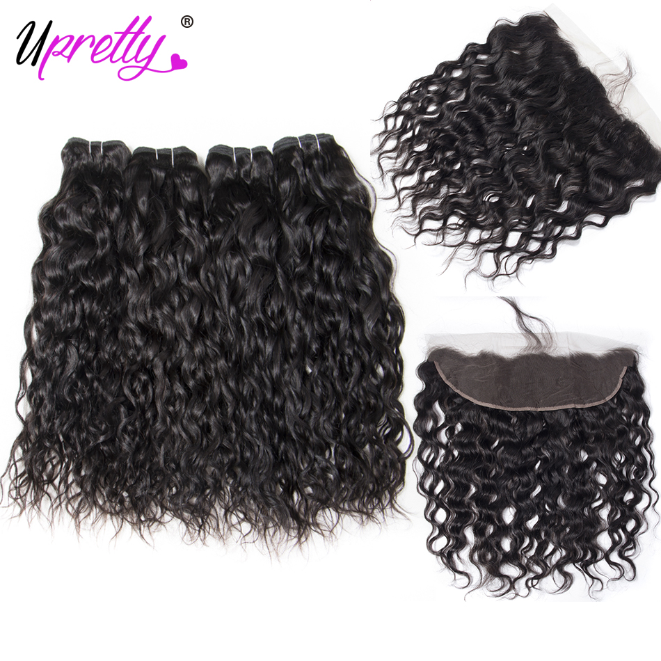 Upretty Hair Indian Water Wave Bundles with Frontal Ear to Ear Lace Frontal Closure with Bundles Remy Human Hair Extensions