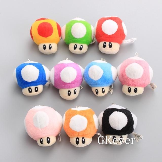 Super Mario Mini Cogumelos 10 pçs/lote Plush Chaveiro Pingente Bonito Macio Stuffed Dolls 6 cm Caçoa o Presente