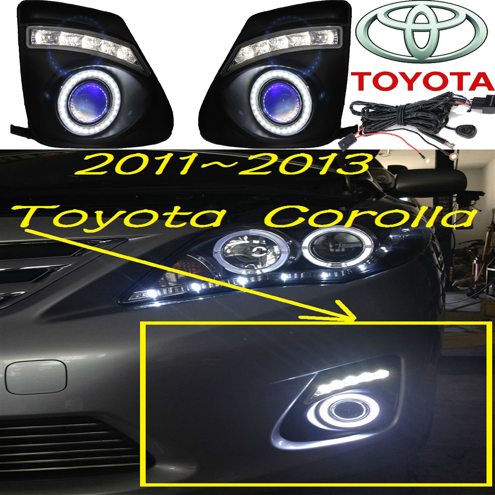 Corolla fog light LED,2011~2013;Free ship!Corolla daytime light,2ps/set+wire ON/OFF;optional:Halogen/HID XENON+Ballast,Corolla 2011 2013 vw golf6 daytime light free ship led vw golf6 fog light 2ps set vw golf 6