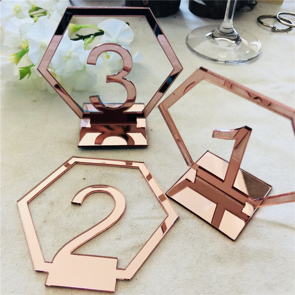 Acrylic Rose Gold Table Numbers Wedding Table Stand Number Sign Engagement Mariage Decoration Table Centerpieces (3)
