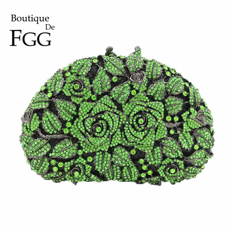 Green Flower Women Crystal Evening Bag Hollow Our Bridal Rose Diamond Rhinestone Wedding Handbags and Purses Metal Clutches Bag rhinestone flower embroidered evening bag