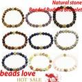 Ouro 8 mm Natural pedra olho de tigre / Lava buda pulseiras para homens e mulheres de jóias 19 cm escolha ( W03406-W03414 )