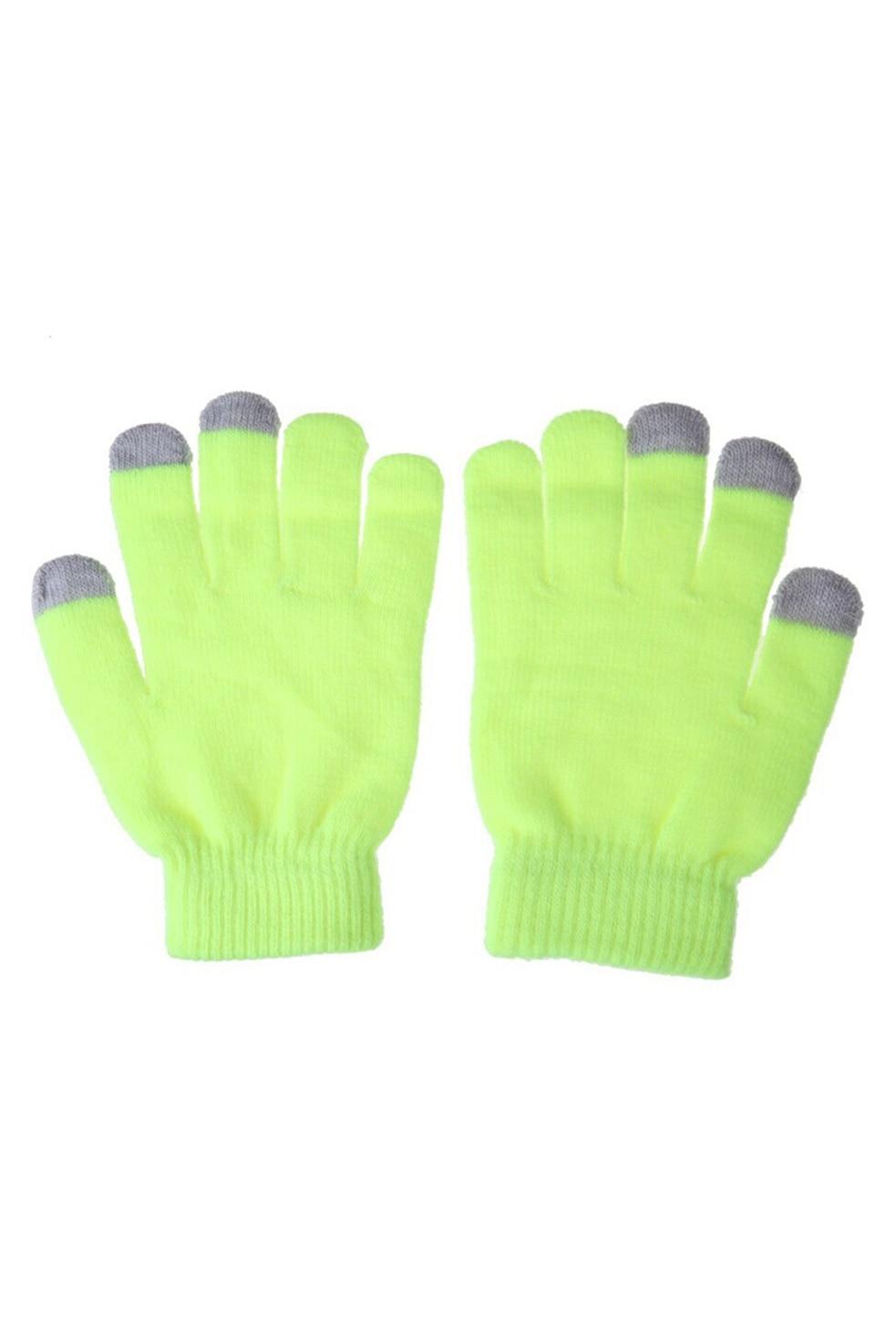 Для женщин Для мужчин Сенсорный экран Мягкий хлопок Зимние перчатки теплые Прихватки для мангала для смартфонов (флуоресцентный зеленый)