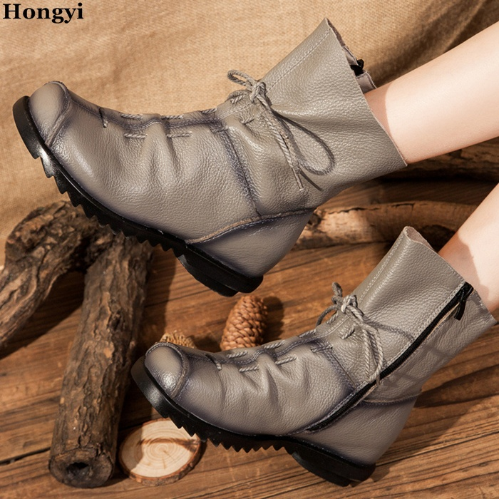 Hongyi Cheap Price Martin Boots Genuine Leather Ankle Shoes Vintage Casual Shoes Women Lace Up Flat Heeled Ankle Boots front lace up casual ankle boots autumn vintage brown new booties flat genuine leather suede shoes round toe fall female fashion