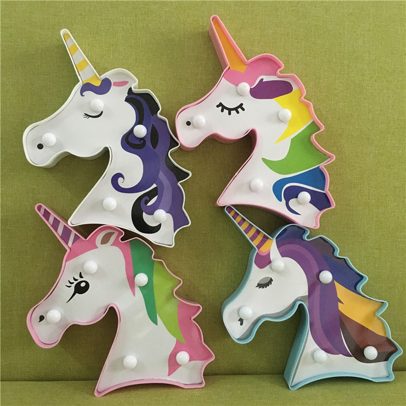 New Mini Unicorn Led Night Light Aa Battery Bedside Lamp For Kids Animal Style Lighting 3d Painted Feature Style Lamp