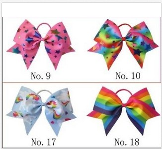 20 BLESSING Good Girl Rainbow Unicorn 7 Cheer Leader Hair Bow Elastic 49 No.
