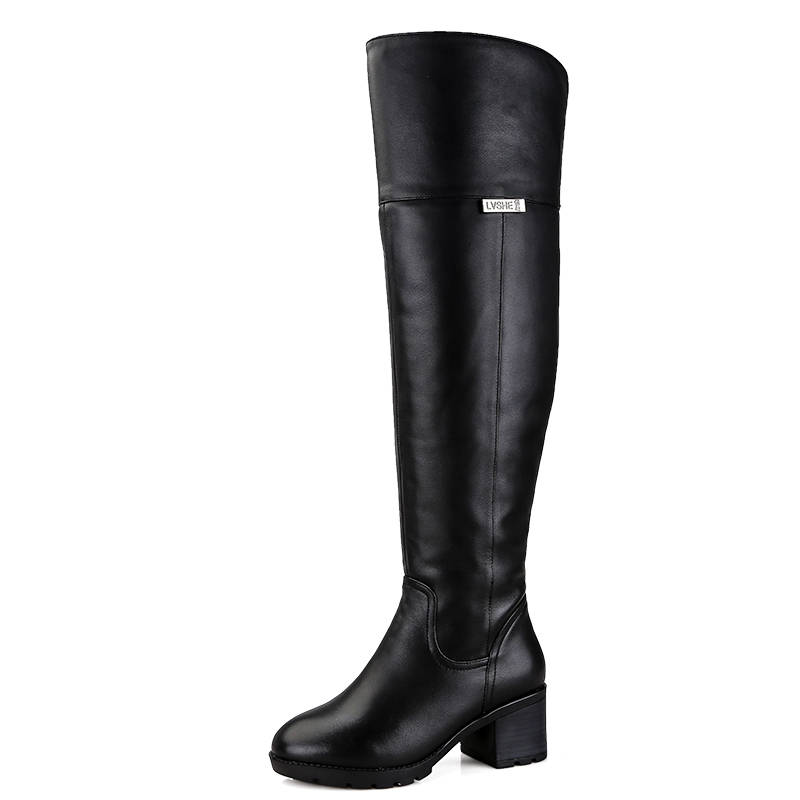 Image 3 - MORAZORA 2019 hot over the knee boots keep warm Genuine Leather Fur Wool Women Boots square high heels winter snow boots russia-in Over-the-Knee Boots from Shoes