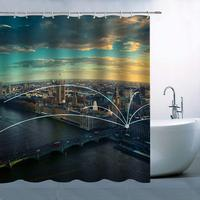 City Overlook Theme Shower Curtain Blue Green Yellow Sky Dark Cloud High rises Bridge Over River Waterproof
