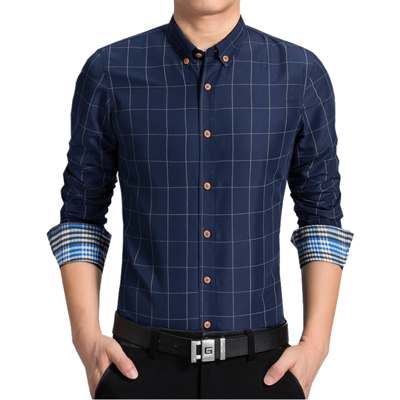 2018 Plaid Men Shirts Long Sleeve Slim Fit M-5XL Cotton Mens Dress Shirts Male Clothes Social Casual Shirt For Men