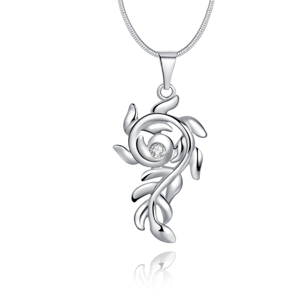925 silver necklace, 2018 new high fashion jewelry, women's olive branch necklace jewelry wholesale N955