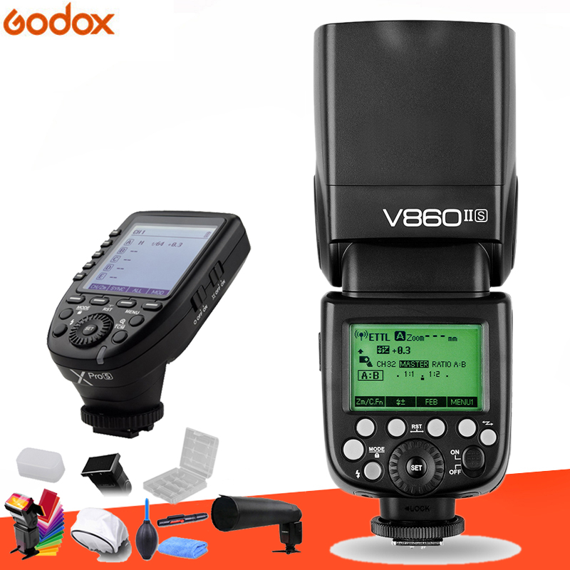 Godox V860II GN60 i ttl HSS 1/8000 s Flash Speedlite avec batterie Li ion + transmetteur Flash Xpro pour Canon Nikon Sony Fuji Olympus-in Clignote from Electronique    1